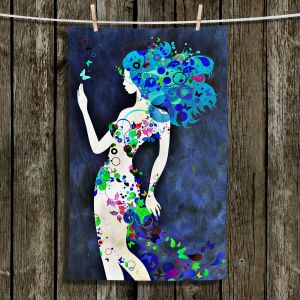 Unique Hanging Tea Towels | Angelina Vick - Wondrous Night 8 | Graphic silhouette abstract leaves butterfly flower