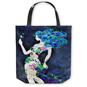 Unique Shoulder Bag Tote Bags   Angelina Vick - Wondrous Night 8   Graphic silhouette abstract leaves butterfly flower