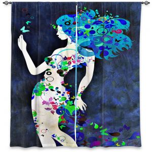 Decorative Window Treatments | Angelina Vick - Wondrous Night 8 | Graphic silhouette abstract leaves butterfly flower