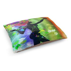 Decorative Dog Pet Beds | Angelina Vick - Wondrous Rainbow 3 | Graphic silhouette abstract leaves butterfly flower