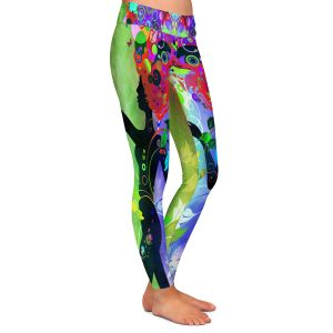 Casual Comfortable Leggings | Angelina Vick - Wondrous Rainbow 3 | Graphic silhouette abstract leaves butterfly flower