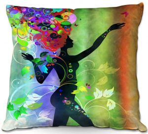 Decorative Outdoor Patio Pillow Cushion | Angelina Vick - Wondrous Rainbow 3 | Graphic silhouette abstract leaves butterfly flower