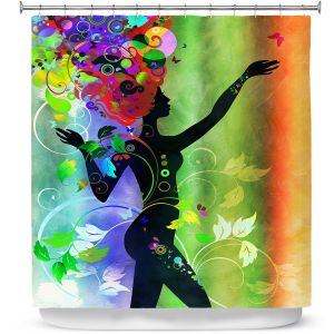 Unique Shower Curtain from DiaNoche Designs by Angelina Vick - Wondrous Rainbow 3