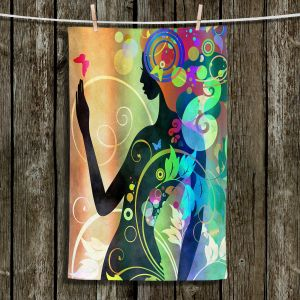 Unique Hanging Tea Towels | Angelina Vick - Wondrous Rainbow 4 | Graphic silhouette abstract leaves butterfly flower