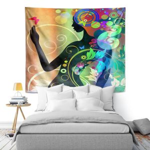 Artistic Wall Tapestry | Angelina Vick - Wondrous Rainbow 4 | Graphic silhouette abstract leaves butterfly flower