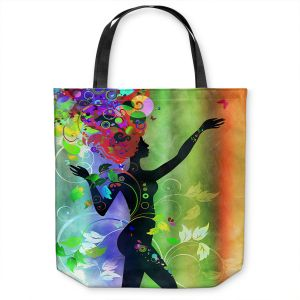 Unique Shoulder Bag Tote Bags | Angelina Vick - Wondrous Rainbow 5 | Graphic silhouette abstract leaves butterfly flower