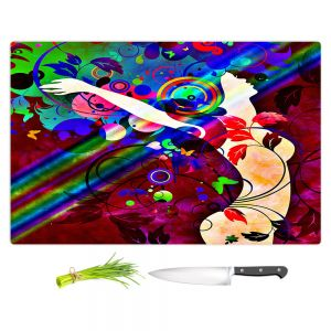 Artistic Kitchen Bar Cutting Boards | Angelina Vick - Wondrous Red 1 | Graphic silhouette abstract leaves butterfly flower