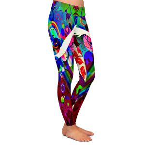 Casual Comfortable Leggings | Angelina Vick - Wondrous Red 1 | Graphic silhouette abstract leaves butterfly flower
