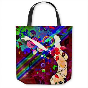 Unique Shoulder Bag Tote Bags | Angelina Vick - Wondrous Red 1 | Graphic silhouette abstract leaves butterfly flower