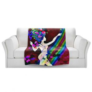 Artistic Sherpa Pile Blankets   Angelina Vick - Wondrous Red 2   Graphic silhouette abstract leaves butterfly flower