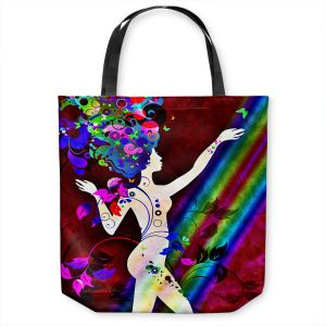 Unique Shoulder Bag Tote Bags   Angelina Vick - Wondrous Red 2   Graphic silhouette abstract leaves butterfly flower