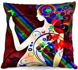 Decorative Outdoor Patio Pillow Cushion | Angelina Vick - Wondrous Red 3 | Graphic silhouette abstract leaves butterfly flower