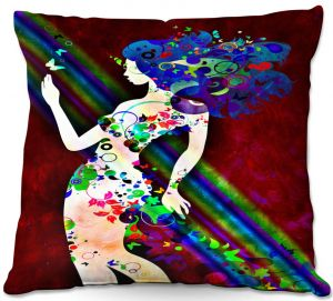 Throw Pillows Decorative Artistic | Angelina Vick - Wondrous Red 4 | Graphic silhouette abstract leaves butterfly flower