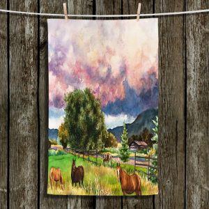 Unique Hanging Tea Towels | Anne Gifford - Dinner at Dusk Horses | Farm Nature Mountains Horses Trees