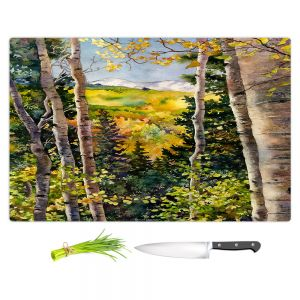 Artistic Kitchen Bar Cutting Boards | Anne Gifford - Aspen Afternoon | Nature Tree Landscape Still Life Mountains