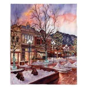 Decorative Fleece Throw Blankets | Anne Gifford - Boulder Pearl Street | Colorado Mountains