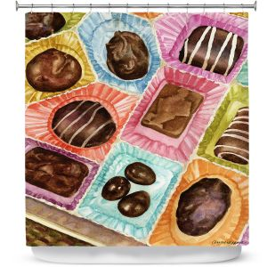 Premium Shower Curtains | Anne Gifford - Box Chocolate | Still life sweets candy close up