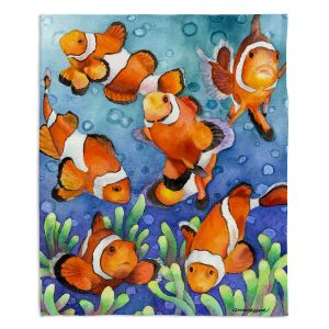 Decorative Fleece Throw Blankets | Anne Gifford - Clown Fish | Ocean sea creatures nature