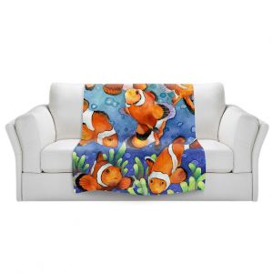 Artistic Sherpa Pile Blankets   Anne Gifford - Clown Fish   Ocean sea creatures nature