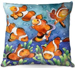 Decorative Outdoor Patio Pillow Cushion | Anne Gifford - Clown Fish | Ocean sea creatures nature