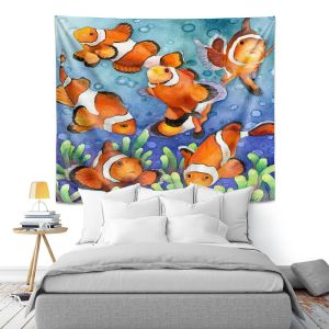 Artistic Wall Tapestry | Anne Gifford - Clown Fish | Ocean sea creatures nature