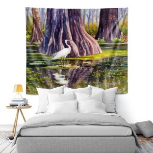 Artistic Wall Tapestry   Anne Gifford - Down in Swamplands   Crane Bird
