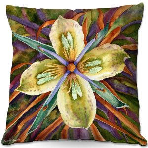 Throw Pillows Decorative Artistic | Anne Gifford - Green Gentian Flower | Flowers Leaves
