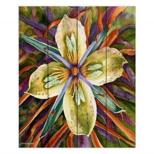 Decorative Wood Plank Wall Art | Anne Gifford - Green Gentian Flower | Flowers Leaves