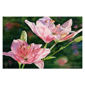 Decorative Floor Covering Mats   Anne Gifford - Pink Lilies Bees   Flowers Leaves