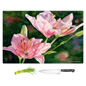 Artistic Kitchen Bar Cutting Boards | Anne Gifford - Pink Lilies Bees | Flowers Leaves