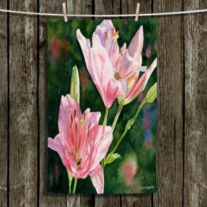 Unique Bathroom Towels | Anne Gifford - Pink Lilies Bees | Flowers Leaves