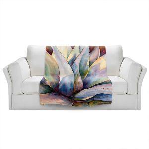 Artistic Sherpa Pile Blankets | Anne Gifford - Tritone Yucca | Leaves Plants Desert