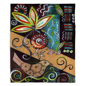 Decorative Fleece Throw Blankets   Ann Marie Cheung - Bloom   Flower abstract collage nature dark whimsical