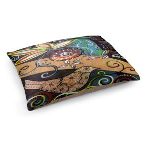 Decorative Dog Pet Beds   Ann Marie Cheung - Bloom   Flower abstract collage nature dark whimsical