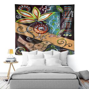 Artistic Wall Tapestry | Ann Marie Cheung - Bloom | Flower abstract collage nature dark whimsical