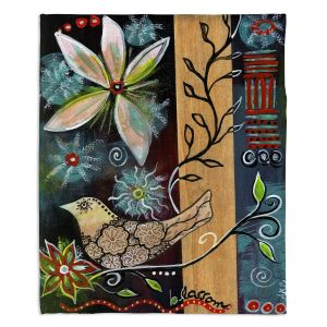 Decorative Fleece Throw Blankets | Ann Marie Cheung - Blossom | Flower abstract collage nature dark whimsical