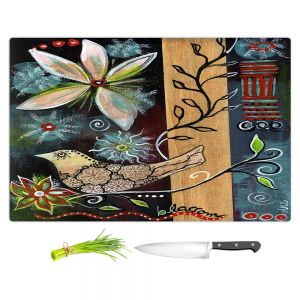 Artistic Kitchen Bar Cutting Boards | Ann Marie Cheung - Blossom | Flower abstract collage nature dark whimsical