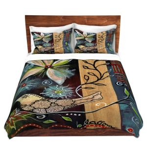 Artistic Duvet Covers and Shams Bedding | Ann Marie Cheung - Blossom | Flower abstract collage nature dark whimsical