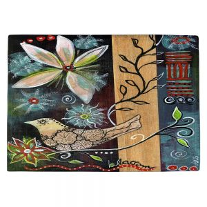 Countertop Place Mats | Ann Marie Cheung - Blossom | Flower abstract collage nature dark whimsical