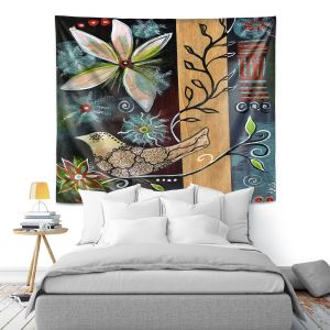 Artistic Wall Tapestry | Ann Marie Cheung - Blossom | Flower abstract collage nature dark whimsical
