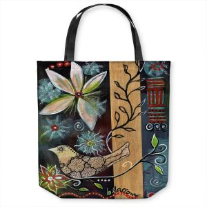 Unique Shoulder Bag Tote Bags | Ann Marie Cheung - Blossom | Flower abstract collage nature dark whimsical