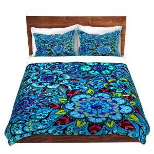 Artistic Duvet Covers and Shams Bedding   Ann Marie Cheung - Blue Mandalas   Geometric spiritual star flower pattern