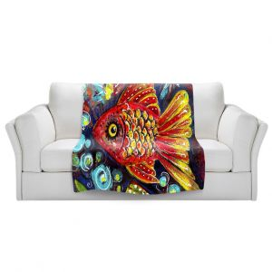 Artistic Sherpa Pile Blankets   Ann Marie Cheung - Bubbles   Goldfish water nature