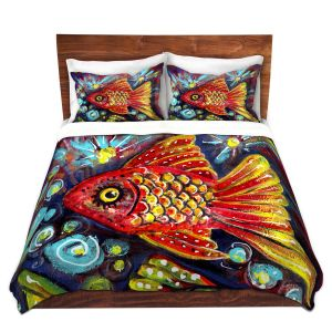 Artistic Duvet Covers and Shams Bedding   Ann Marie Cheung - Bubbles   Goldfish water nature