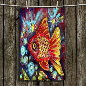 Unique Hanging Tea Towels | Ann Marie Cheung - Bubbles | Goldfish water nature