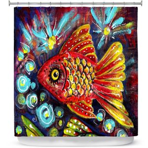 Premium Shower Curtains | Ann Marie Cheung - Bubbles | Goldfish water nature