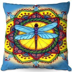Throw Pillows Decorative Artistic | Ann-Marie Cheung - Dragonfly Mandala | Geometric Flower Nature