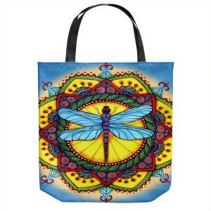 Unique Shoulder Bag Tote Bags | Ann-Marie Cheung - Dragonfly Mandala | Geometric Flower Nature