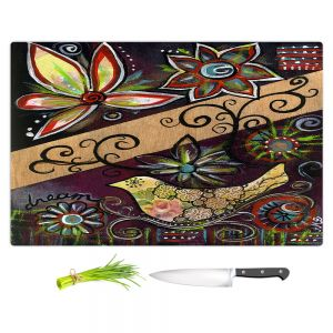 Artistic Kitchen Bar Cutting Boards | Ann Marie Cheung - Dream | Flower abstract collage nature dark whimsical