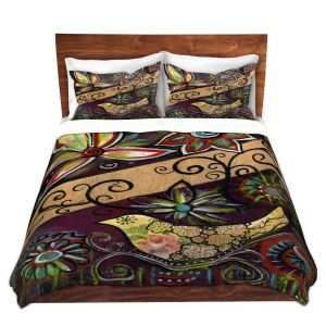 Artistic Duvet Covers and Shams Bedding | Ann Marie Cheung - Dream | Flower abstract collage nature dark whimsical